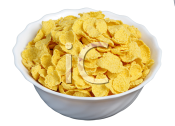 cornflakes in a white cup on a black background, isolated