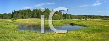 Royalty Free Photo of a Panorama of a Meadow and Stream