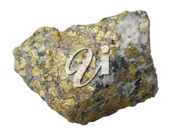 A splinter of chalcopyrite, isolated on a white background