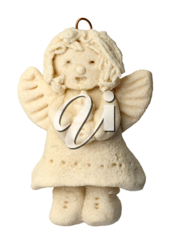 Figurine of an angel for a Christmas tree, isolated on a white background