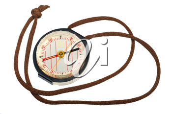 Liquid compass for orienteering, isolated on a white background