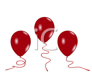 Royalty Free Clipart Image of Three Red Balloons