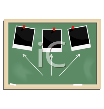 Royalty Free Clipart Image of a Blackboard With Pictures