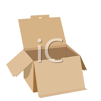 Royalty Free Clipart Image of a Cardboard Box