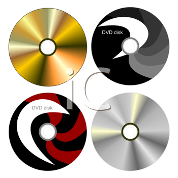 Royalty Free Clipart Image of a Set of DVD Discs