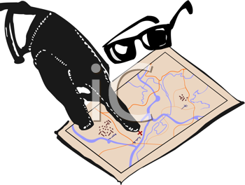 Royalty Free Clipart Image of a Hand and Map