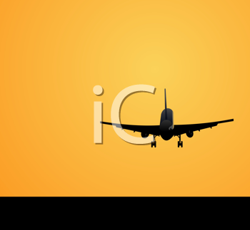 Royalty Free Clipart Image of an Airplane in Mid-Air