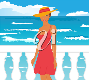 Illustration girl on quay at the sea - vector