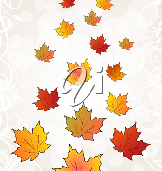 Illustration flying autumn orange maple leaves - vector