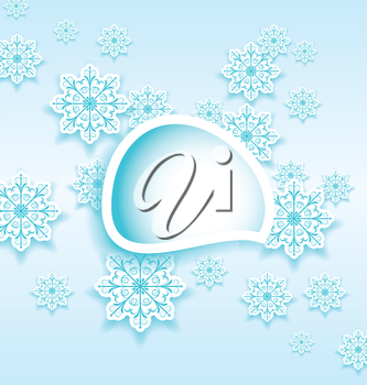Illustration abstract bubble with set snowflakes - vector