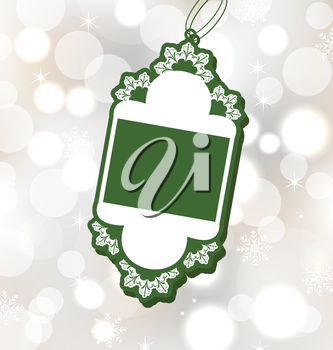 Illustration Christmas sale label on glowing background - vector