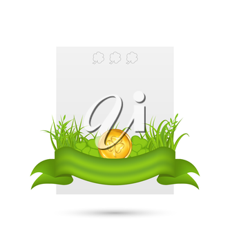 Illustration natural card with coin, shamrocks, grass, ribbon - for St. Patrick's Day - vector