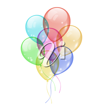 Illustration bunch colorful balloons isolated on white background - vector