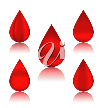 Illustration set blood drops with reflections, different variation - vector