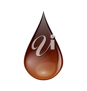 Illustration chocolate or coffee droplet isolated on white background - vector