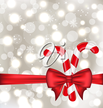 Illustration Christmas glowing background with gift bow and sweet canes - vector
