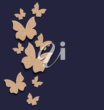 Illustration carton paper butterflies with copy space - vector