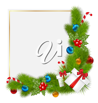 Illustration decorative border from a traditional Christmas elements - vector