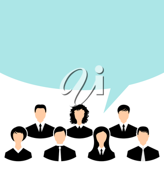 Illustration unity of business people team with speech bubble - vector