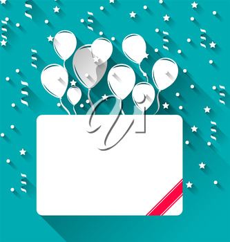 Illustration greeting card with balloons for happy birthday, trendy flat style - vector