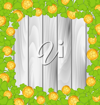 Illustration border with shamrocks and golden coins for St. Patrick's Day, grey wooden background - vector
