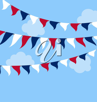 Flags USA Set Bunting Red White Blue for Independence Day 4th of July President Day Washington Day US Labor Day. Patriotic Symbolic Decoration for Celebration Backgrounds - Vector