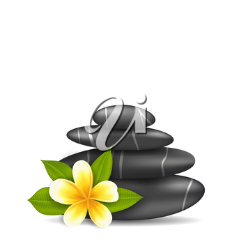 Illustration Frangipani Flower (plumeria) and Pyramid Zen Spa Stones, Isolated on White Background - Vector