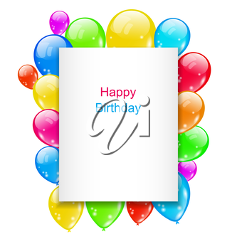 Illustration Birthday Postcard with Colorful Balloons with Text - Vector
