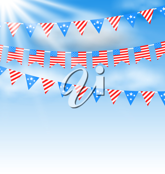 Illustration Bunting Garlands in Traditional American Colors for Independence Day - Vector