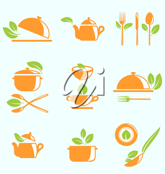 Illustration Collection of Healthy Eating, Vegetarian Natural Food - Vector