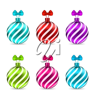 Illustration Set Glassy Colorful Stripped Balls for Merry Christmas, Isolated on White Background  - Vector