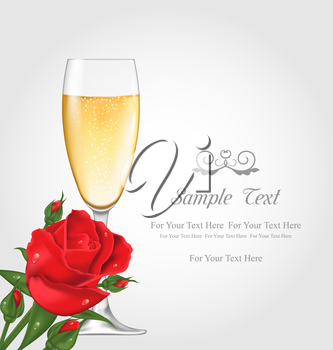 Illustration Greeting Postcard with Glass of Champagne and Rose Flower - Vector
