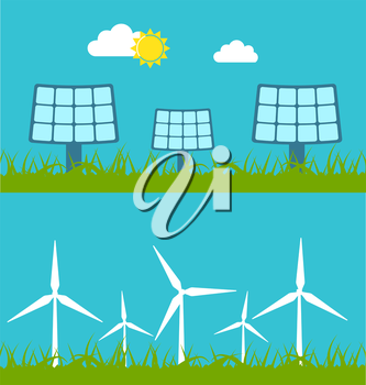 Illustration Abstract Banners with Solar Panels and Wind Generators, Alternative Sources Energy - Vector