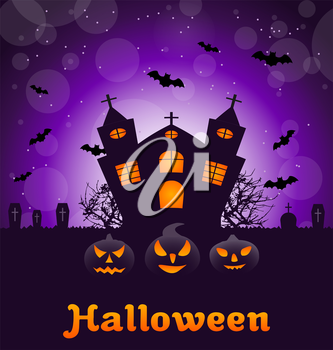 Illustration Halloween Nature Background with Castle, Pumpkins, Bats, Cemetery, Advertising Flyer - Vector