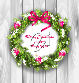 Illustration Christmas Wreath with Balls, New Year and Christmas Decoration, Wooden Background - Vector