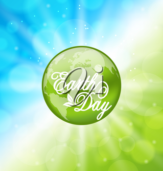 Illustration Glowing Bright Background for Earth Day Holiday with Planet - Vector