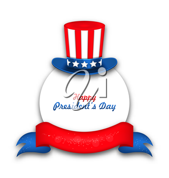 Illustration Celebration Card with Uncle Sam's Hat and Ribbon for Happy Presidents Day of USA - Vector
