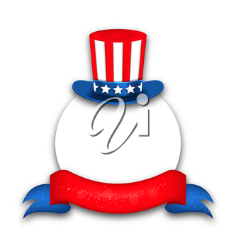 Illustration Abstract Background with Uncle Sam's Hat and Rybbon for National Holidays of USA - Vector