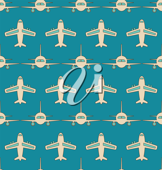 Illustration Seamless Background with Flying Transports. Plane, Jet, Airplane, Aircraft, Airliner, Aeroplane - Vector