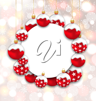 Illustration Christmas and Happy New Year Card with Red Snowing Balls on Glowing Background - Vector