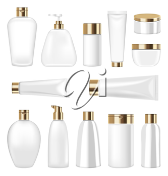 Illustration Set Cosmetic Plastic Bottle and Tube Isolated on White Background. Collection Container for Soap, Gel, Lotion, Mask, Shampoo, Bath Foam - Vector