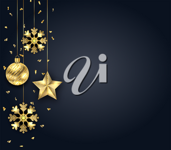 Christmas Dark Background with Golden Baubles, Greeting Banner - Illustration Vector