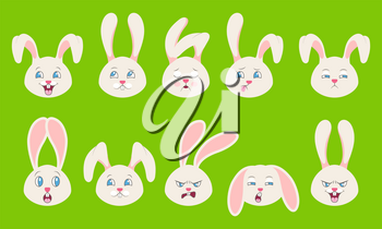Heads of Rabbit with Different Emotions - Cheerful, Sad, Thoughtfulness, Funny, Drowsiness, Fatigue, Malice - Illustration Vector