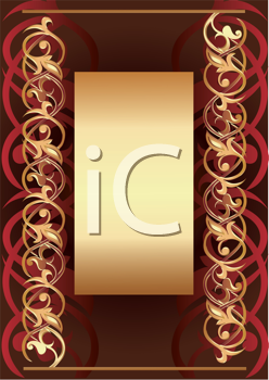 Royalty Free Clipart Image of a Background With a Golden Frame