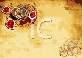 Royalty Free Clipart Image of a Heart and Roses Background