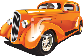 Royalty Free Clipart Image of an Orange Antique Auto