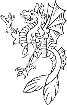 Vectorial pictogram of most heraldic monster - dragon, executed in style of gravure on wood. No dlends, gradients and strokes.