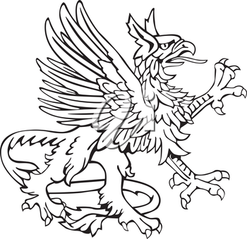 Vectorial pictogram of most heraldic monster - gryphon, executed in style of gravure on wood. No dlends, gradients and strokes.