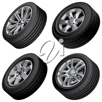 High quality vector bundle of passenger cars alloy wheels, isolated on white background. File contains gradients, blends and transparency. No strokes.