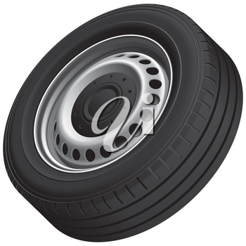 High quality vector illustration of typical vans wheel with pressed disc, isolated on white background. File contains gradients, blends and transparency. No strokes.